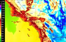June 19, 2017 High Temperature Model Forecast; The Climb Of The Inland Heatwave