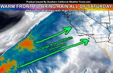 Warm Front To Bring Long Duration Rainfall Across Southern California on Saturday; High Snow Levels