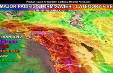 Category Five Major Pacific Storm XAVIER Intensifies On Thursday;  High Flood Risk Over a Widespread Area South and East of Los Angeles; Flood Warnings Issued