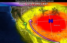 July 2019 Forecast For Southern California;  Monsoon Ridge Develops