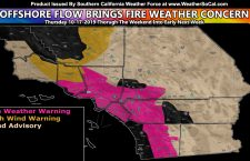 Weak Santa Ana Wind Pattern Prompts Fire Weather Warnings;  Wind Products Issued For Mountain and Desert Areas, including Santa Barbara to San Luis Obispo