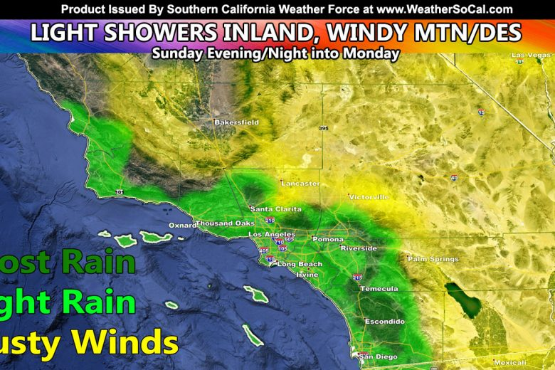Showers In Metro Zones Expected This Evening Through Monday Morning, Including Gusty Mountain and Desert Winds