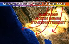 Strong Gusty and Dry North Winds Expected To Enter Arizona on Tuesday; Wind Warnings and Advisories Issued Via AZWF Wind Gust Model