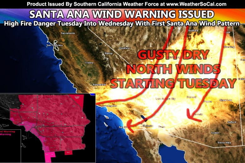 OFFICIAL:  Santa Ana Wind Warning Issued Across Parts of Southern California; Fire Weather Warning Embedded; Wind Models Available