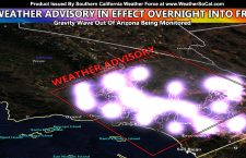 Weather Advisory In Effect Tonight Through Some of Friday For Half of Southern California for Showers OR Thunderstorms Due To Incoming Gravity Wave; Details