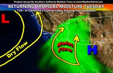 Tropical Moisture From The South To Up Shower or Thunderstorm Chances Los Angeles Eastward On Tuesday; June 22, 2021; Details