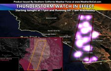 Thunderstorm Watch Issued For Areas East of Los Angeles County, From San Diego County North to Fort Irwin and Barstow through the Inland Empire and Big Bear Through Wednesday Noon